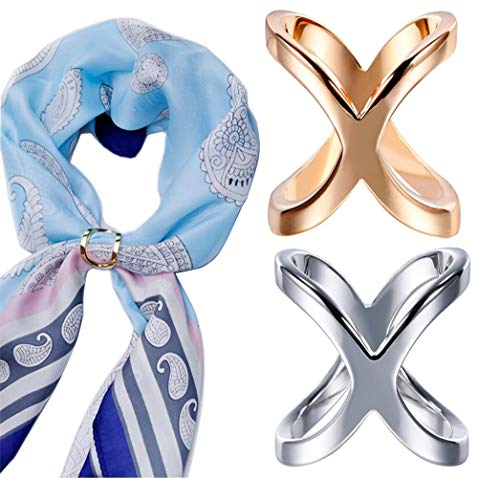 2PCS(Gold+Silver) X Shaped Women Lady Girls Fashion Scarf Ring Buckle Modern Simple Jewelry Silk Scarf Clasp Clips Clothing Wrap Holder Clothing Decoration Accessories for T-Shirt Neckerchief Shawl