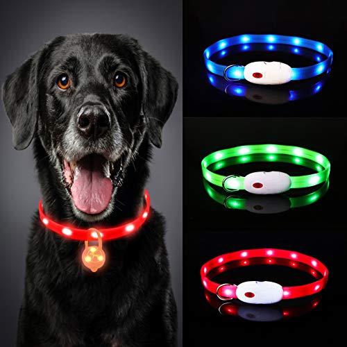Oladwolf Leuchthalsband Hund Aufladbar, LED Hundehalsband Leuchtend wasserdicht Längenverstellbar USB, Haustier Sicherheit Kragen für Hunde und Katzen - 3 Leuchtmodi (Rot)
