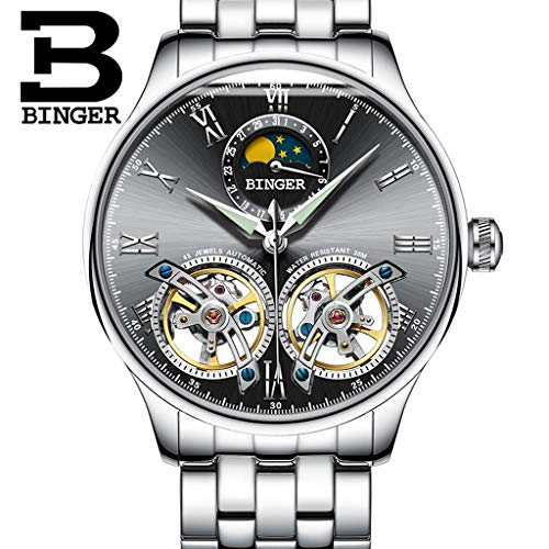 FAPROL-BINGER Luxuriöse Uhr, Mechanische Armbanduhr Für Herren Leuchtende Zeigeruhren Mondphasen- Und Kalenderanzeige Merkmale Black