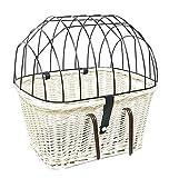 Tigana - Fahrradkorb aus Weide Weiß mit Gitter und Kissen