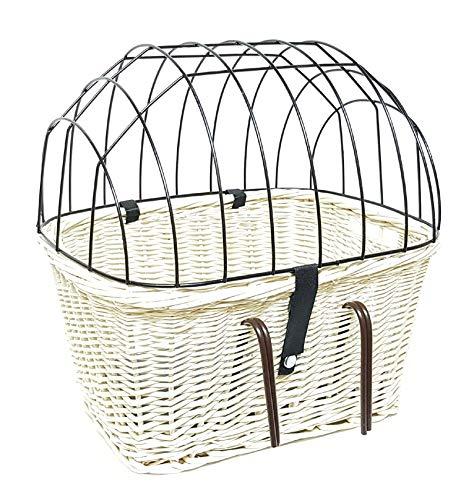 Tigana - Fahrradkorb aus Weide Weiß mit Gitter und Kissen für Lenker 45 cm (W-S)
