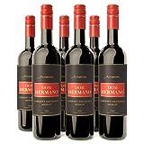 Dom Hermano - Cabernet Sauvignon Merlot - Rotwein trocken - Vollmundiger Wein - Wein passt zu grillfleisch - 6 Flaschen (6 x 0,75l) - Wein Geschenk - Portugiesischer Wein - IGP Tejo