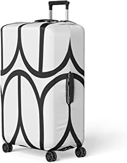 Pinbeam Luggage Cover Herringbone Zigzag Weaving Lines Knotting Stripes Pattern Rounded Travel Suitcase Cover Protector Baggage Case Fits 18-22 inches