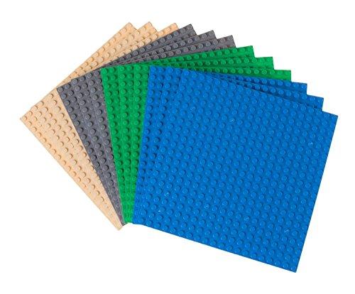 Strictly Briks - Pack de 12 Bases para Construir - Compatibles con Todas Las Grandes Marcas - 15,24 x 15,24 cm - Verde, Azul, Gris y Arena