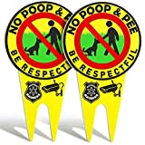 2 Pieces No Poop Dog Signs No Poop and Pee Sign Luminous Be Respectful Sign Yard Dog Sign with Stake Glow in The Dark Dog Signs (Yellow)