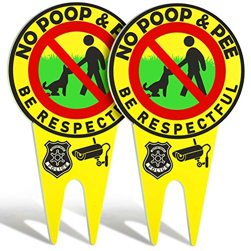 2 Pieces No Poop Dog Signs No Poop and Pee Sign Luminous Be Respectful Sign Yard Dog Sign with Stake Glow in The Dark Dog Signs