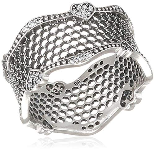 Pandora Lace of Love Silver Ring Size 6 With Clear CZ 197706CZ-52