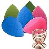 Set de 6 esponjas para maquillaje de esponja para maquillaje de color negro, perfecto para líquidos, crema y polvo (multi...