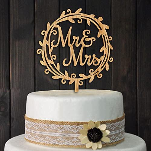 MiaoxinUK Décoration de gâteau de mariage, décoration de gâteau en bois de qualité supérieure pour gâteaux de mariage et gâteaux de fête (Mr&Mrs)