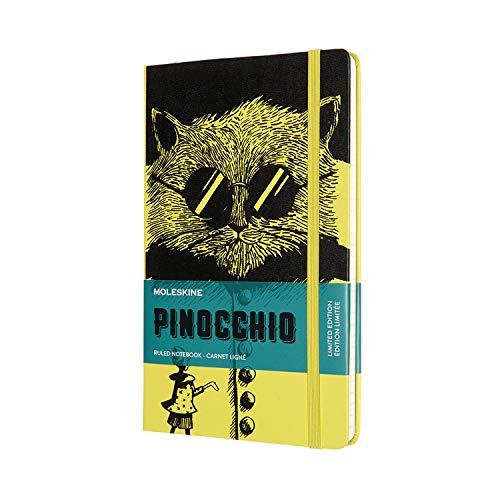 Moleskine Pinocho Gato - Cuaderno páginas forradas, tamaño grande 13 x 21 cm, color amarillo pajizo