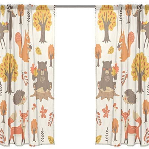 Orediy Vorhang aus Voile, transparent, 2 Paneele, Waldtiere, 40 % Verdunklungsstange, langer Vorhang, Fensterbehandlung, Schlafzimmer, Wohnzimmer, 2* 140W x 200 H