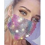 Sethexy Brillante Máscara de malla Diamante de imitación Vistoso Rojo y amarillo Bola de cristal Mascarada Club nocturno Mardi Gras Máscaras para mujeres y niñas