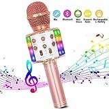 Microphone Sans Fil Karaoké, Bluetooth Micro Lecteur de karaoké portable 4 en 1...