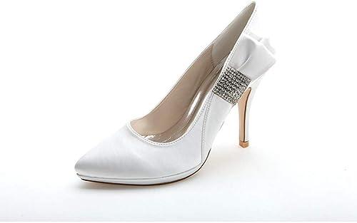 YUGUO Tacones Altos zapatos De Tacón Alto De Gama Alta Personalizados con Un Elegante Trabajo Profesional. Destacados zapatos De mujer, Satén Salvaje, zapatos De Un Solo Color azul Zafiro.