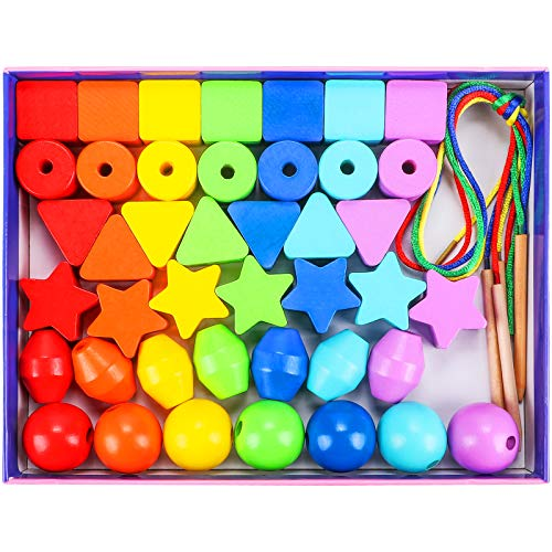 Tacobear 42 PCS Lacing Beads Threading Toys for Toddlers Wooden Primary Lacing Toy Rainbow Threading Beads Fine Motor Skills Montessori Toys Christmas Birthday Gifts for Boys Girls Babies