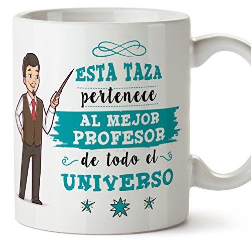 MUGFFINS Taza Profesor (hombre)-El Mejor Profesor del Universo - Taza de Café/Desayuno - Regalos Originales para Profesores y Maestros - Cerámica 350 ml / 11oz