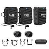 SYNCO G1(A2) 2.4GHz Wireless Lavalier Microphone System with 2 Transmitter/1 Receiver Kit, 50m Transmission Range Real-time Monitoring for Camera DSLR Camcorder Recorder PC Smartphone
