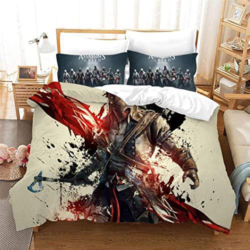 JXKEF Duvet Cover Set Bedding Sets 3D Print Assassin's Creed Soft Microfiber Single Double King Size Bed 3 Piece Duvet Set with Zipper Closure 2 X Pillowcases 1 X Quilt Case,Double