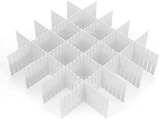 Akuoufour DIY Plastic Grid Drawer Divider Adjustable Drawer Clapboard Partition Divider Cabinet DIY Grid Storage Organizer for Closet Stationary Makeup Socks Underwear Scarves (8Pcs White)
