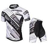 SXSHUN Hombres Conjunto de Maillot de Ciclismo Camiseta de Bicicleta Pantalones Cortos Cojín 3D Transpirable Verano, Direcciones/Blanco, EU L (Etiqueta: XL)