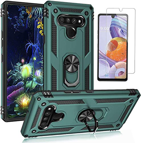 LG Stylo 6 Case, with HD Screen Protector, YZOK Military Grade Protective Phone Case with 360 Degree Rotating Metal Ring, Holder Kickstand, Anti-Scratch Bracket Cover Case for LG Stylo 6 (Dark Green)