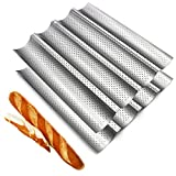 Fasmov 2 Pack French Bread Baking Pan Nonstick Perforated Baguette Pan 4 Wave Loaves Loaf Bake Mold...