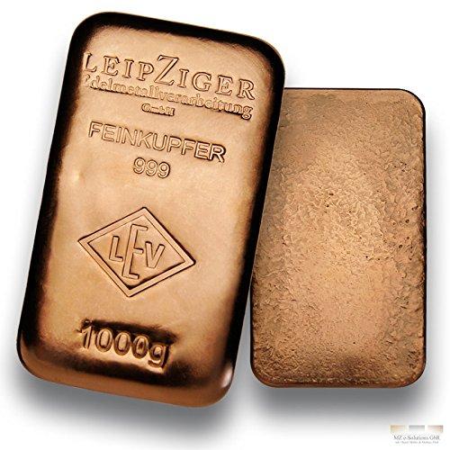 Kupferbarren 1000g - 1kg Feinkupfer gegossen von LEV - 999 Kupfer