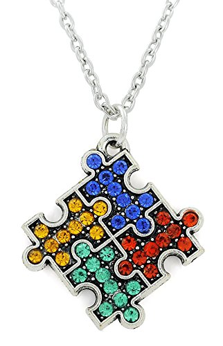 Fishhook Crystal Puzzle pieza para el Autismo Conciencia Jigsaw Colgante Collar Regalo para Grupo Especial