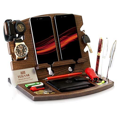 Halterung für Handys, aus Holz, mit Ständer für Uhren, Herren, Geschenk für Ehemann, Ehefrau, Jahrestag, Vater, Geburtstag, Nachttisch, Geldbörse, Vaterabschluss, Männer, Reise-Idee, Gadgets