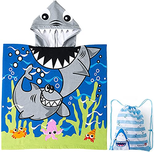 Exquisito patrón albornoz poncho de baño para niños y niñas, toalla con capucha para niños y niñas (Shark, 70 x 150 cm)