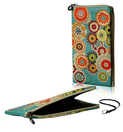 """Pochette de téléphone portable élégante avec fermeture à glissière Soft Case Etui motif """"fleurs"""" adapté pour Samsung Galaxy S7 Edge - Zipper protection manchon sac"""
