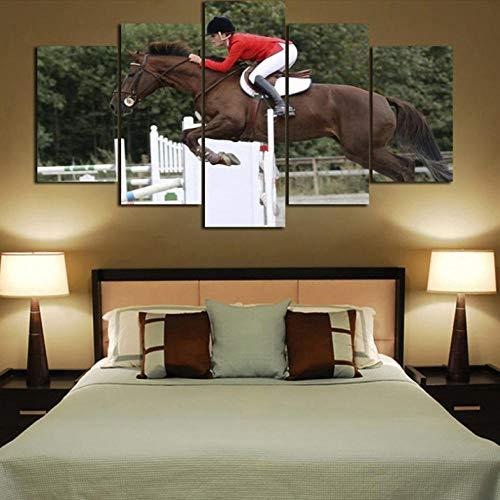 Htekgme canvasdruk Hd woonkamer afbeelding decoratie 5 panelen paardenrace schilderij muurkunst modulaire poster gedrukt modern