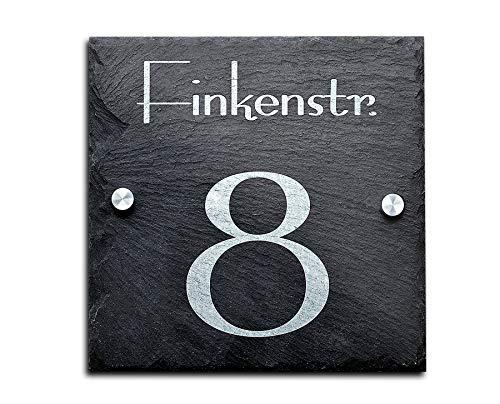 Schiefer Hausnummer/Straße Namen Gravur 20x20 cm Firmenschild Namensschild