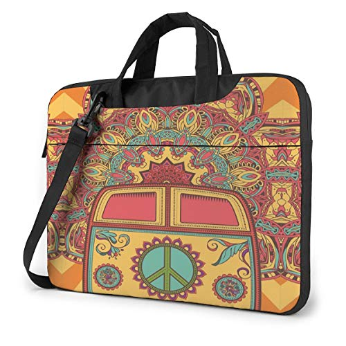 Laptop Bag 15.6 Inch Laptop Sleeve Case with Shoulder Straps & Handle/Notebook Computer Case Briefcase Compatible with MacBook/Acer/Asus/Hp - Hippie Vintage Mini Van Peace