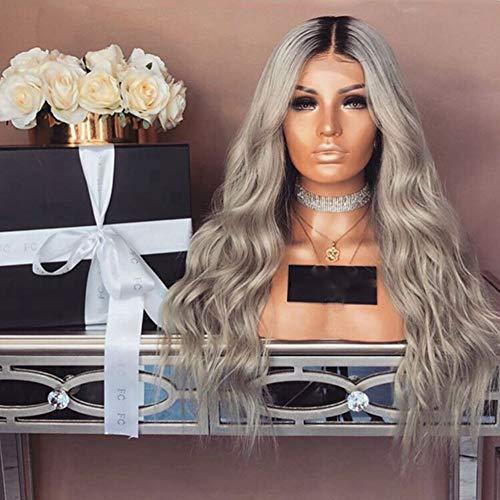 La perruque des femmes de longs cheveux bouclés, la robe des femmes de la perruque gris brun Pour les fêtes quotidiennes