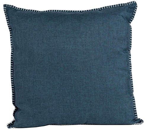 Nielsen Kissenbezug Charleston, 50x50 cm, Indigo (blau), Dekokissen mit Ziernaht, Vorderseite in Leinenoptik, modernes Zierkissen, Sofakissen, dekorativ und elegant