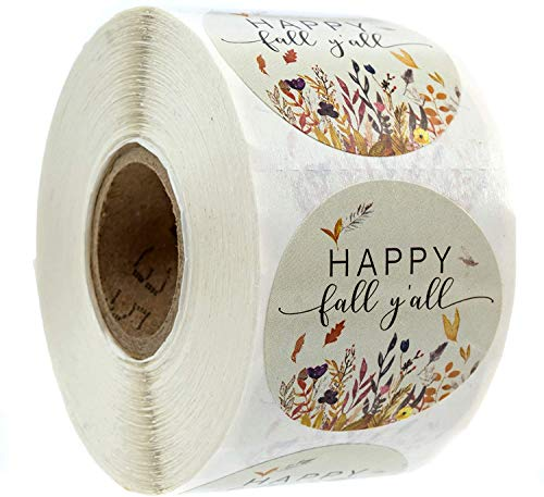 """Happy Fall Y'all Stickers - 1.5"""" Circle Labels / 500 per Pack"""