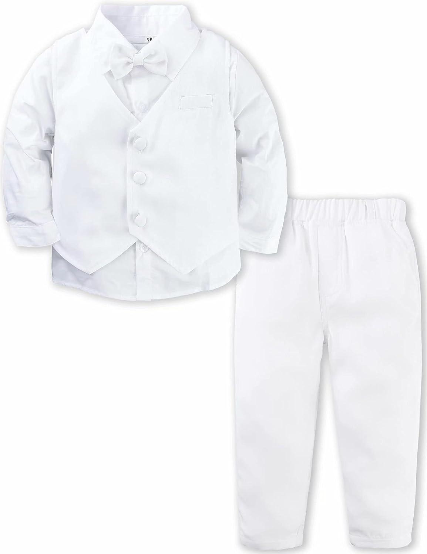 A&J DESIGN Baby Toddler Boys Gentleman Suit Set, 3pcs Outfits Shirts & Vest & Pants