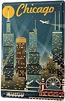 シカゴ、ブリキサインヴィンテージ面白い生き物鉄の絵の金属板人格ノベルティ