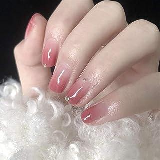 YERTTER 24pcs Glossy Colorful Fake Nails Gradient Short Fails Nails Artificial Acrylic Nails with Design Nail Salon DIY Ar...