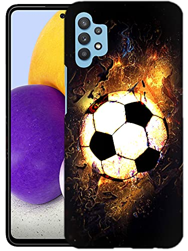 Glisten Samsung Galaxy A32 5G Case -Soccer On Fire Design Printed Slim Profile Cute Plastic Hard Snap on Protective Designer Back Case/Cover for Galaxy A32 5G Case (2021) [Not for 4G]