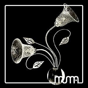 Lámpara aplique de pared con 2luces en cromo con taza de cristal de Murano transparente