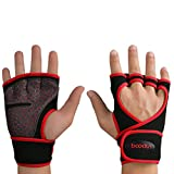 Womens Workout Gloves,for Weight Lifting Training Gym Hand Palm Protector Glove Red Size L