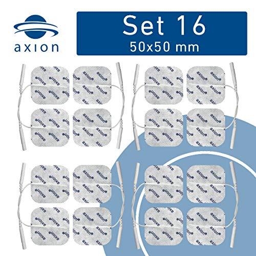 16 Stück axion Elektroden Pads 5x5 cm. Selbstklebend. Für TENS EMS Reizstrom - Geräte mit 2mm-Steck-Anschluss.