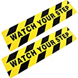 Boao 6 by 24 Inches Watch Your Step Warning Sticker Adhesive Tape Anti Slip Abrasive Tape for Workplace Safety Wet Floor Caution (2)