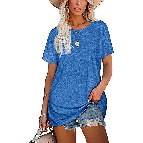 Mayntop Camiseta para mujer de verano con estampado de palabras, para el día de beber, suelta, manga corta, blusa con cuello redondo, A-azul, 42