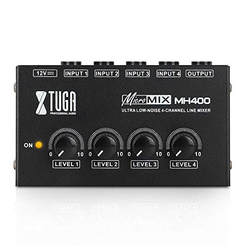 XTUGA MH400 Sound Mixer Ultra-compact Low Noise 4 Channels Line Mixer,Mini Audio Mixer with AC adapter Use for Microphones,Guitars,Bass,Keyboards,Mixer, Musical Instruments