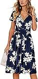OUGES Women's Summer Short Sleeve V-Neck Pattern Knee Length Dress with Pockets(Floral01,XL)