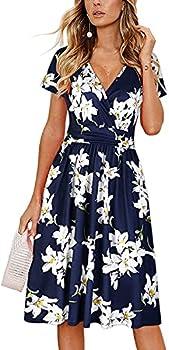 OUGES Women s Summer Short Sleeve V-Neck Floral Short Party Dress with Pockets floral01,L