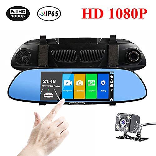 LOY Dash CAM de 7 Pulgadas, cámara de Espejo retrovisor con transmisión HD 1080P, Lente Dual y cámara de Tablero Inteligente con Espejo retrovisor de visión Nocturna